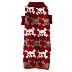 Roupa de Frio para Cachorro Tricot Caveira com Forro Vermelho Dog & Home - MeuAmigoPet.com.br #petshop #cachorro #cão #meuamigopet