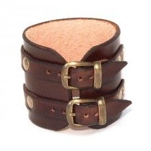 Hard leather wristband with buckles