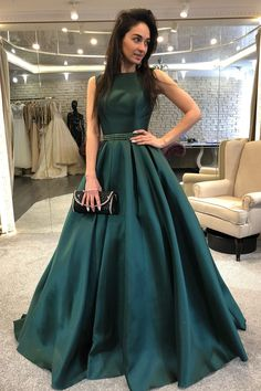 Elegant Prom Dresses, A-Line Bateau Backless Sweep Train Dark Green Prom Dress with Beading Pleats Shop for La Femme prom dresses. Elegant long designer gowns, sexy cocktail dresses, short semi-formal dresses, and party dresses. Fancy Prom Dresses, Dark Green Prom Dresses, Backless Prom Dresses, A Line Prom Dresses, Formal Evening Dresses, Dress Formal, Dress Prom, Dress Long, Formal Prom