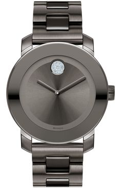 Movado Bold - 36 mm mid-size Movado BOLD watch, grey ion-plated stainless steel case with mirror-finish bezel, grey metallic dial with matching hands/clear crystal-set dot, grey ion-plated stainless steel link bracelet with deployment clasp, K1 crystal, Swiss quartz movement, water resistant to 30 meters, MADE WITH SWAROVSKI ELEMENTS.