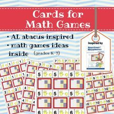 FREE printable number cards from 1 through 10 with visual representation (fingers and AL abacus), inspired by RightStart Math Homeschool Curriculum. Good to use with ANY math curriculum!! Math games ideas inside! From sponsor @educents