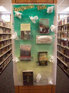 "Library display for ""tearjerker titles""...complete with tissue box!  