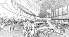 Information about shopping mall interior sketch. Shopping Mall Interior, Perspective Sketch, Interior Sketch, Interior Design, Space Architecture, Drawing Architecture, Sketches, Layout, Exterior