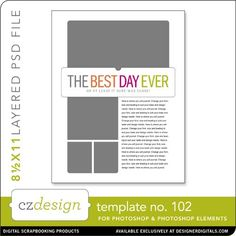 Cathy Zielske's Layered Template No. 102 - Digital Scrapbooking Templates