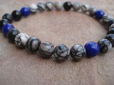 Silkstone Men's Bracelet with Black Obsidian by MakeMeSmileJewelry