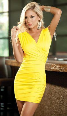 Sexy Yellow Mini Dress
