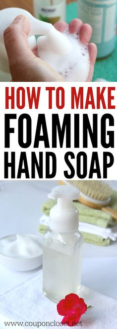 Easy DIY Foaming Hand Soap. Learn how easy it is to make an all natural Homemade foaming hand soap.