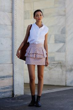 white blouse + patterned skirt . never would have thought of these shoes to this outfit, but for me it works .