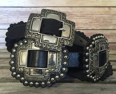 Womens Roper Belt: Wowza! This amazing women's belt from Roper features a unique cross concho design with separated conchos with stud detail and tooled metal. 1 inch. 5406790. Women's Belt sizes: S=30