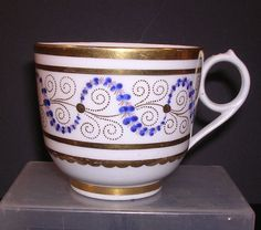 ANTIQUE MILES MASON FACTORY Z PORCELAIN CUP WITH RING PULL HANDLE c1810