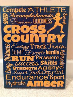 Custom Canvas Cross Country track Subway Art by ModernMomDecor on Etsy