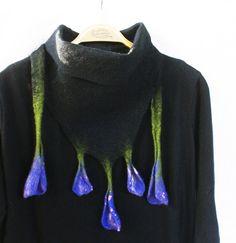Black Lavender Blue Wool Wrap Collar OOAK Felted Crocus Flower