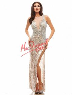 Pink Champagne Prom Dress with Sheer Cutouts | Mac Duggal 4154A