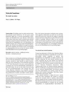 artikel over selectief mutisme