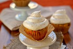 Pumpkin Carrot Cake Cupcakes with Maple Cream Cheese Frosting - the cupcakes you need to make this Fall!