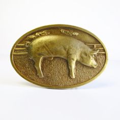 Vintage Pig On The Farm Brass Belt Buckle  by VintageEarlyBirds