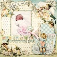 Graphic 45 Little Darlings layout.  How sweet is this!