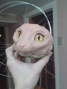 Cat Face Sculpt  - Horsehair Whiskers, Glass Eyes by RikerCreatures.deviantart.com on @DeviantArt