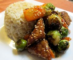 Garlic and Sea Salt: Sesame Tempeh with Roasted Brussels Sprouts and Carrots