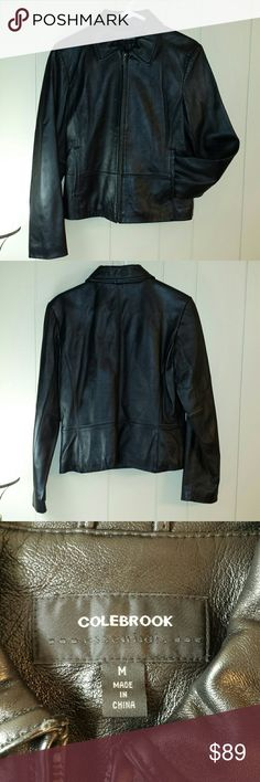 Beautiful Black Leather Jacket EUC Hardly worn, no longer fits me  Interior is lined. 2 pockets, silver matte hardware. Soft and pliable. Not hard at all. Excellent used condition! Colebrook Jackets & Coats
