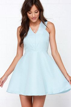 Incurably Romantic Light Blue Skater Dress at Lulus.com!