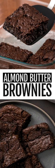 The BEST Almond Butter Brownies Recipe Rich, gooey, dark, chocolatey almond butter brownies! Vegan Sweets, Healthy Sweets, Healthy Dessert Recipes, Gluten Free Desserts, Healthy Baking, Baking Recipes, Cake Recipes, Healthy Cake, Health Desserts