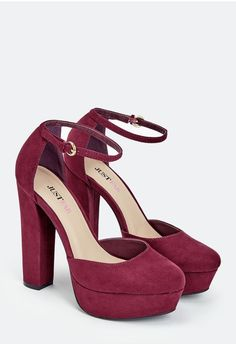 This retro style is sure to be a conversation starter. It features a front and back platform, faux suede construction, and chinky block heel for style and comfort....