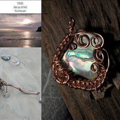 Copper Wire Wrapped and Wire Woven Abalone Pendant