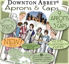 "1920's APRON Downton Abbey Authentic 1920's Patterns Pdf by eVINTAGEpatterns e-booklet FEATURING ANDOVER's Downton Abbey ""Downstairs"" Fabric Collection! PDF download by eVINTAGEpatterns on Etsy.com  Apron Pattern Daisy Mrs. Patmore"