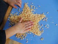 Starfish. Could use pasta, rice, beads, grated orange/yellow plastic etc...
