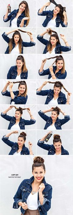 Best Hair Braiding Tutorials - Twisted Top Knot - Easy Step by Step Tutorials for Braids - How To Braid Fishtail, French Braids, Flower Crown, Side Braids, Cornrows, Updos - Cool Braided Hairstyles for Girls, Teens and Women - School, Day and Evening, Boho, Casual and Formal Looks http://diyprojectsforteens.com/hair-braiding-tutorials