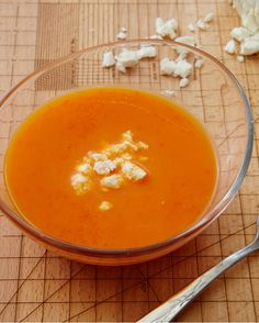 Chilled red pepper soup with feta cheese on top! Recipe in my weekly #giadasweekly