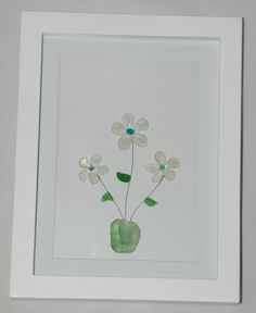 Sea glass flowers in a pot.  For sale on Etsy.com.