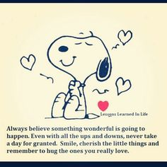 Pictures of cheerful funny things Snoopy. Lessons learned in life.