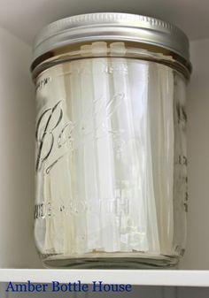 Organizing glue sticks in a mason jar