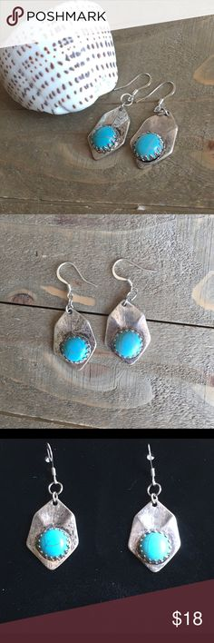Turquoise and Silver Earrings Handmade Turquoise and silver earrings. Features silver plate ear wires. Handmade Jewelry Earrings