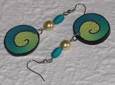 Ohrhänger - Ohrhänger Spirale petrol-gelb - ein Designerstück von iCo-Design bei DaWanda