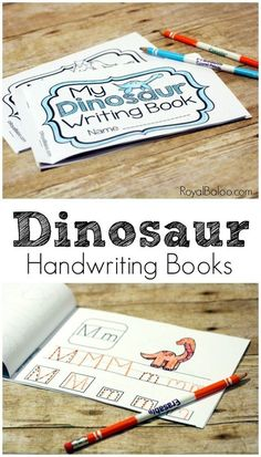 Handwriting Booklets for Learning to Write Learn, or practice, handwriting skills with these fun and simply dinosaur handwriting books!Learn, or practice, handwriting skills with these fun and simply dinosaur handwriting books! Dinosaur Classroom, Dinosaur Theme Preschool, Dinosaur Activities, Dinosaur Crafts, Writing Activities, Writing Skills, Dinosaur Alphabet, Hand Writing, Dinosaur Printables
