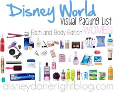 Disney World Visual Packing: Bath and Body WOMEN
