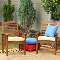 Walker Edison Acacia Wood Patio Chairs with Cushions - Set of 2 | from hayneedle.com