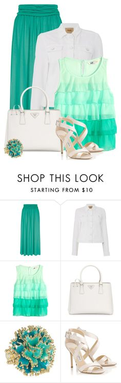 """""""Untitled #5502"""" by cassandra-cafone-wright ❤ liked on Polyvore featuring HotSquash, Paige Denim, H&M, Prada and Jimmy Choo"""