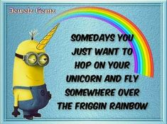 Somedays you just want to hop on your unicorn and fly somewhere over the friggin rainbow Best Quotes, Funny Quotes, Funny Humor, Yellow Guy, Dry Humor, Wine Mom, Freaking Hilarious, Minions Quotes, Friendship Quotes