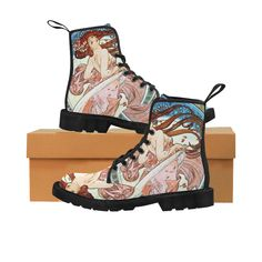 Alphonse Mucha Dance, Art Nouveau Vintage Art Martin Boots for Women (Black) (Model 1203H)