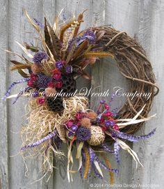 Fall Wreath Autumn Wreath Designer by NewEnglandWreath on Etsy