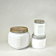 3 Milk Glass Cosmetics Jars with Rusty Zinc by OldRedHenVintage