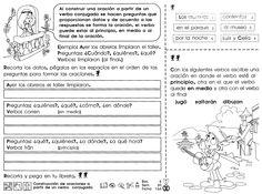 Al construir una oración a partir de un verbo conjugado se hacen preguntas que proporcionan datos y de acuerdo a las respuestas se forma la oración, el verbo puede estar al principio, en medio o al final de la oración.  ACTIVIDAD  -Recorta los datos, pégalos en los espacios en el orden de las preguntas para formar las