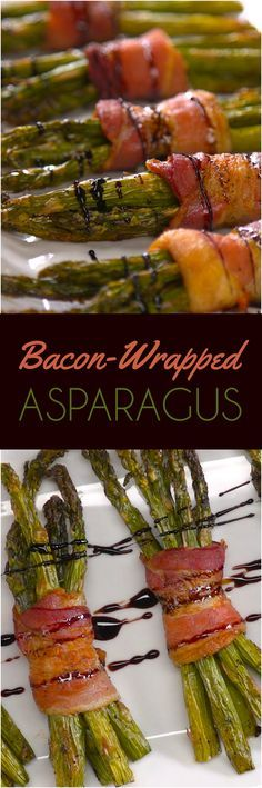 Aren't these artful bacon-wrapped asparagus bundles the kind of thing you'd expect to see going around on a tray at a wedding? They're so elegant — you're the only one who needs to know how simple they are to put together. Just wrap fresh green asparagus spears in bacon, roast the bundles in the oven until they're crispy, then drizzle on a delicious honey balsamic glaze.