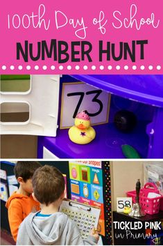 Day of School duck hunt. Students hunt for numbers to then cross the number off on their 100 chart when they find that duck. 100 Days Of School Centers, 100th Day Of School Crafts, 100 Day Of School Project, Last Day Of School, School Fun, School Ideas, School Projects, Kindergarten Lesson Plans, Kindergarten Lessons