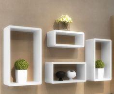 #Wooden #Wall #Shelves #Set #Of #4 #Retro #Storage #Rack #Wall #Mounted #Decor #Rectangular
