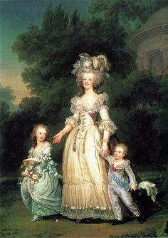 Marie Antoinette with her children   Princess Marie Therese Charlotte of France and Dauphin Louis Joseph of France, by Adolf Ulrik Wertmuller, 1785.  The queen strolls trough the gardens at her beloved Petite Trianon clutching the wrist of the four year old dauphin.